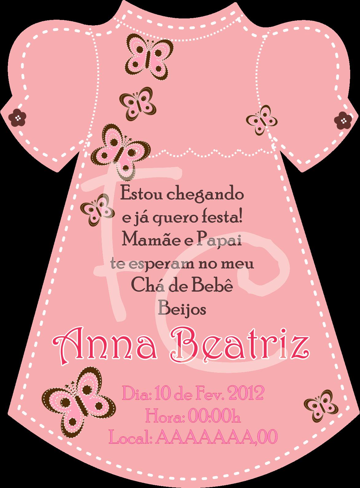 Convite De Ch   De Beb   Em Formato De Vestido