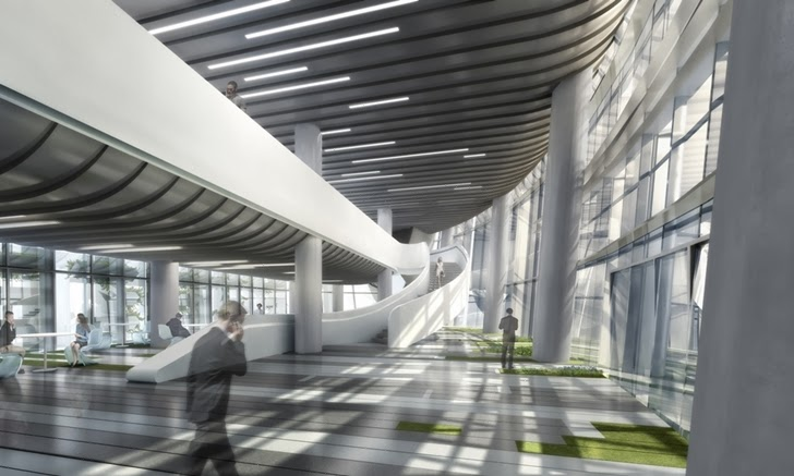 Lobby of the Impressive Modern Office Tower by Aedas