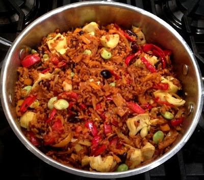 multi-vegetable paella recipe from plenty, yotam ottolenghi