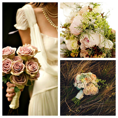 Ramo de novia para boda vintage romántica tonos empolvados peonias paniculata