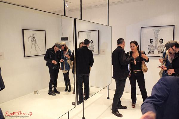 Mirror view, Lexi Land 'Pieces of Me' art opening 2012, Leonard Mattis Studio