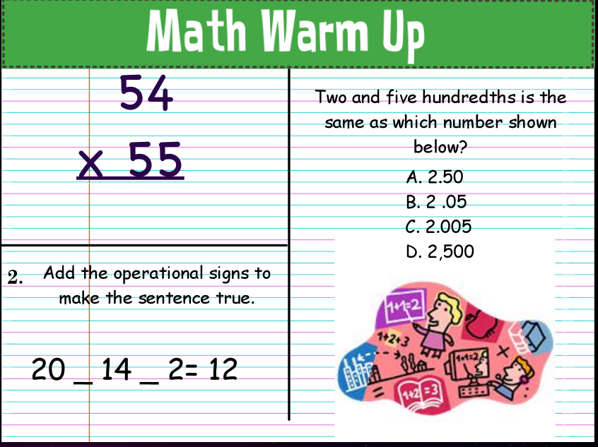 Stuff Students Say and Other Classroom Treasures: March Math Warm Up!