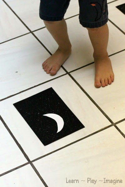 Ready, set, crescent moon!  A gross motor game to learn the phases of the moon.