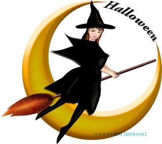 ハロウィンの三日月とキレイな魔女のイラスト