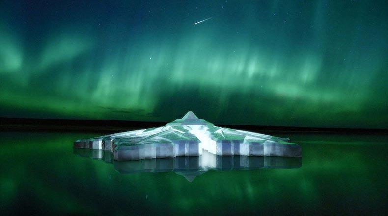 Hotel flotante con forma de copo de nieve te ofrecerá vistas increíbles de la aurora boreal