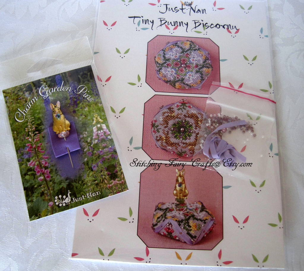 Just Nan Tiny Bunny Biscornu with bunny pin and embellishments pack