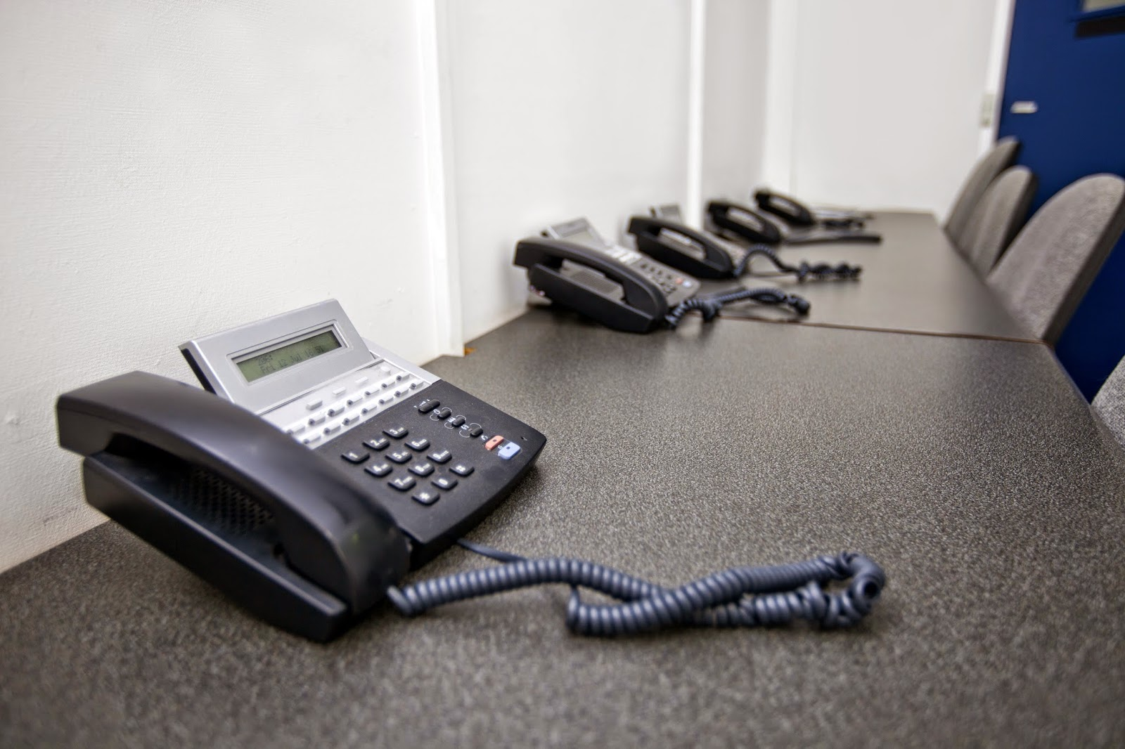 A lineup of business telephones