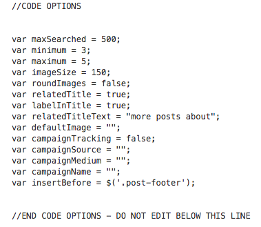 screenshot of code options