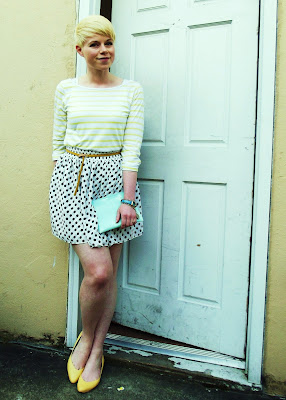 fleur d'elise, blonde, short hair, spring, fashion, polka dots, seattle
