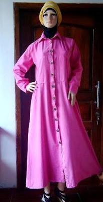 Gamis Jeans Warna Pink GJ1085