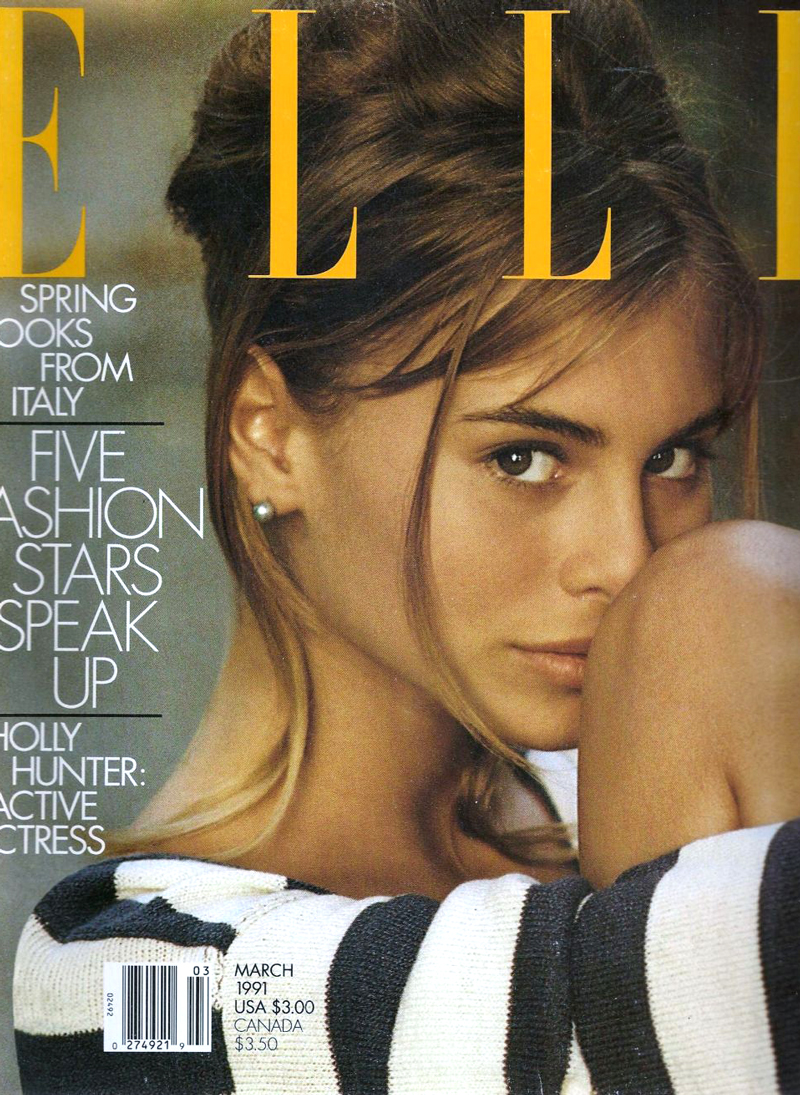 Breton top / story of breton top / how to style breton top / Nicky Taylor in Elle US March 1991 via fashioned by love british fashion blog