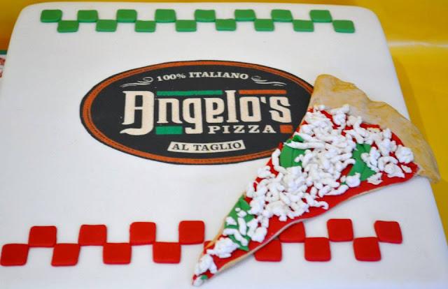 tarta Caja de Piza inauguracion Pizzeria Angelo Castello de Rugat logo impresion comestible Sugar Dreams Gandia