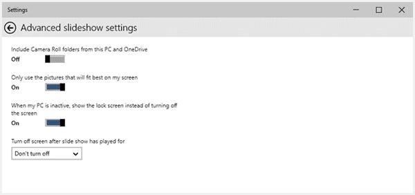 windows 10 advanced slideshow settings