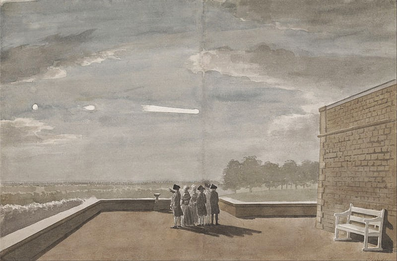 The Meteor of August 18, 1783, as seen from the East Angle of the North Terrace, Windsor Castle by Paul Sandby, 1773