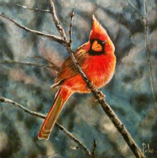 Cardinal in oil