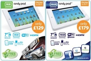 Andy Pad Android tablets available for order, delivery from Sept 12th