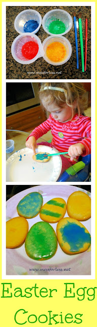 Decorating Easter Egg Cookies for kids! Kids love helping in the kitchen. An easy way to get them involved in the Easter preparations. #Easter #cookies