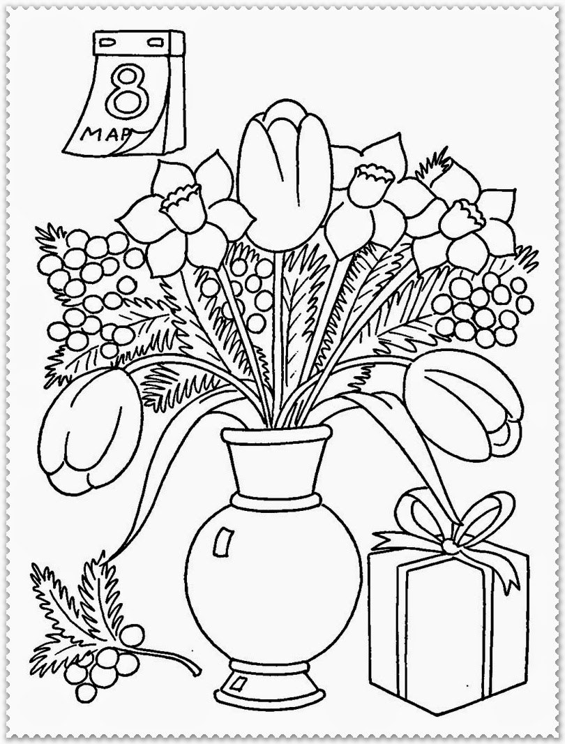 spring flower coloring pages free