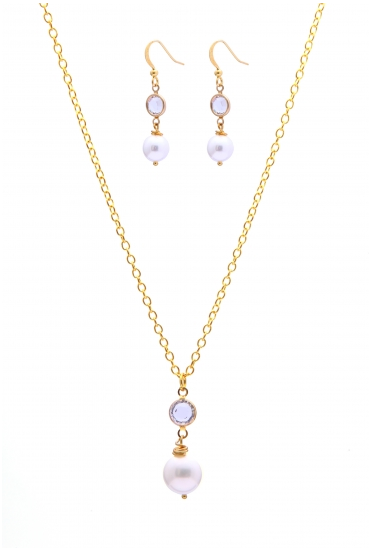 gold plated chain necklace and earring with white majorica pearl and swarovski crystal photo