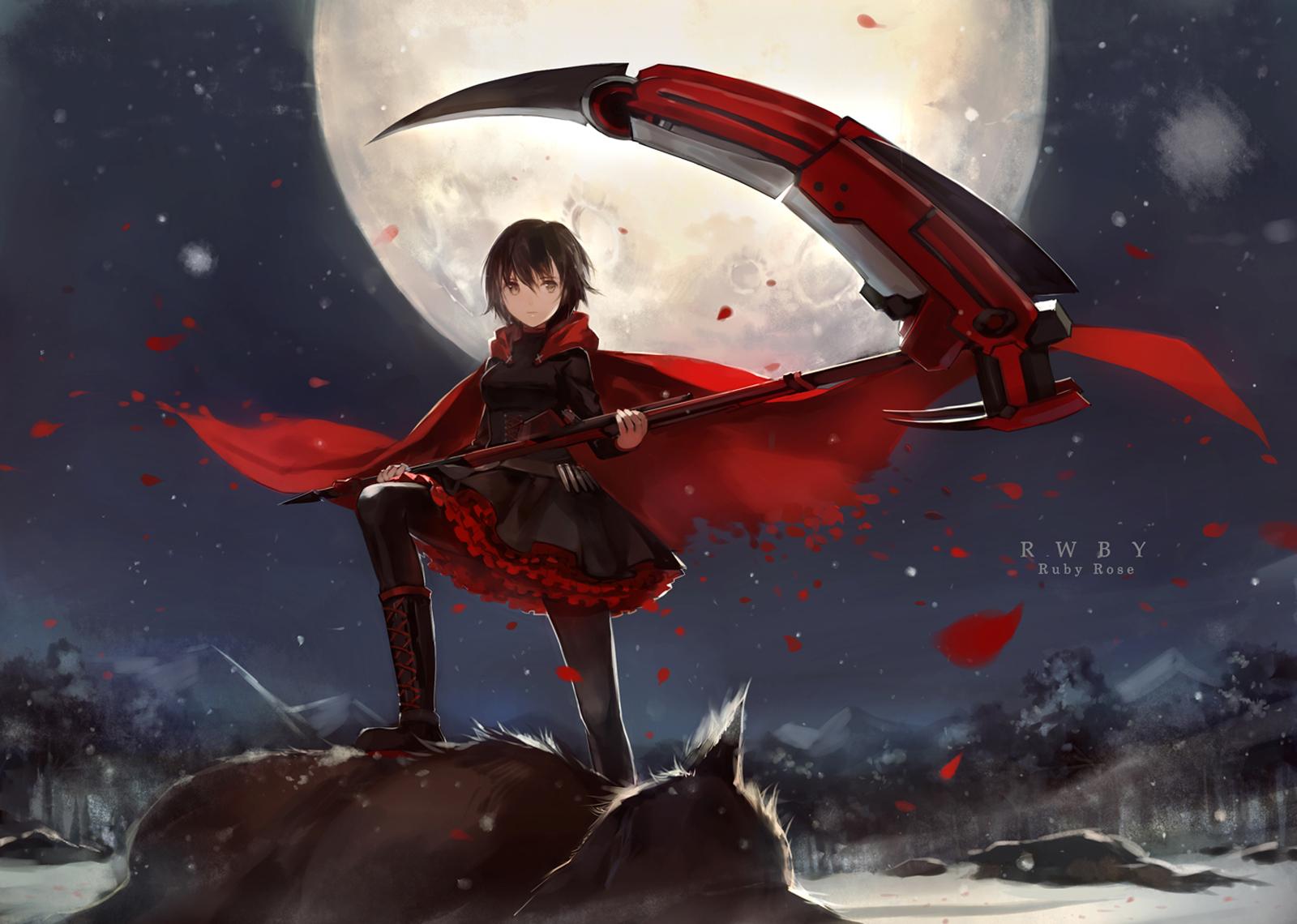 Ruby Rose RWBY Death Scythe Full Moon Wolf Petals Red Cape Girl Female Anime HD Wallpaper