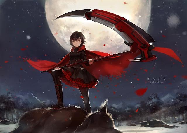 Ruby Rose RWBY Death Scythe Full Moon Wolf Petals Red Cape Girl Female Anime HD Wallpaper Desktop PC Background 2127