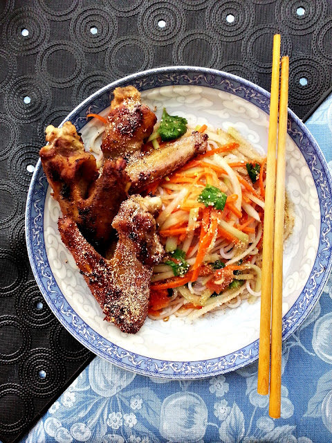 thai style duck and green papaya salad