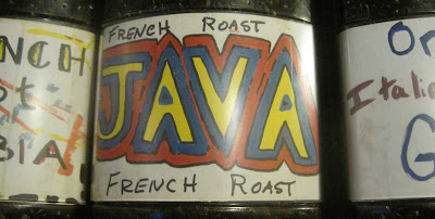 JAVA coffee label in red and green
