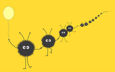 Dazzled bug holding a balloon with its friends on a yellow background