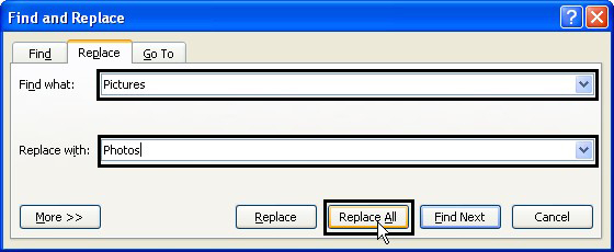 how to use find and replace in word 2007