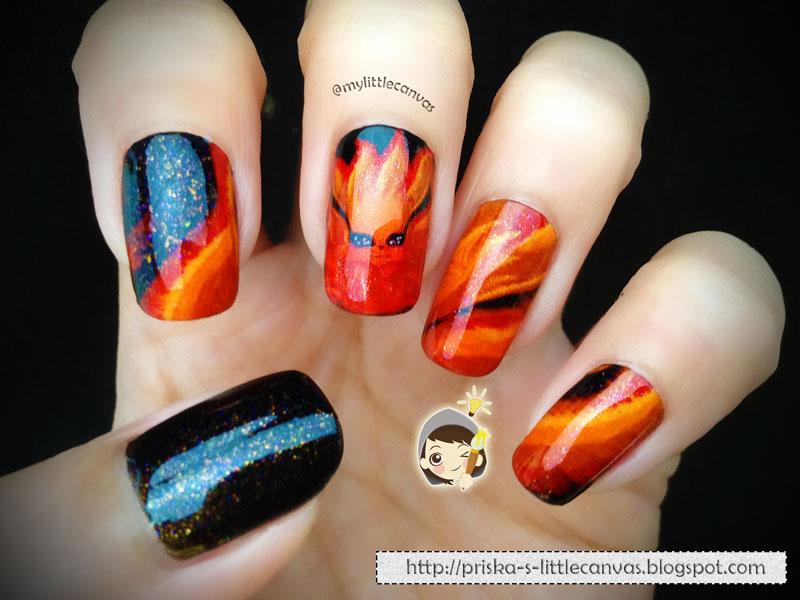 MyLittleCanvas: Naruto Inspired Nail Art : Chibi Kyuubi *_*