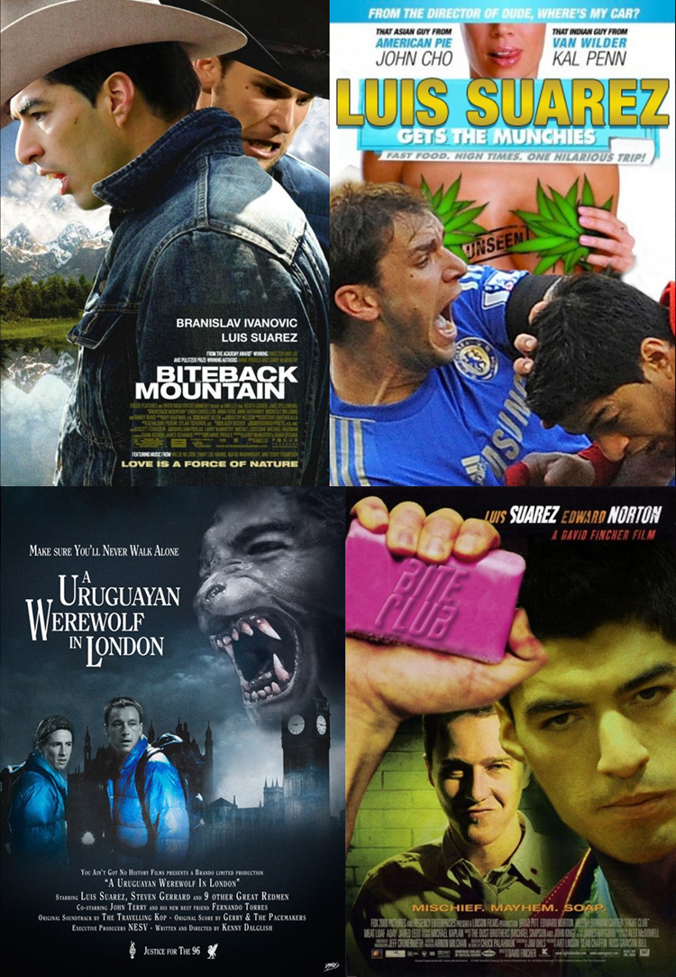 Luis Suarez, Memes, Funny, Movie Posters, Football film posters, bite, Biteback Mountain, Luis Suarez Gets The Munchies, A Uruguayan Werewolf in Liverpool, Bite Club.