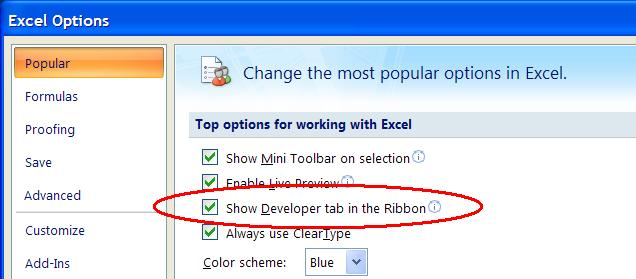 how to add developer toolbar in excel