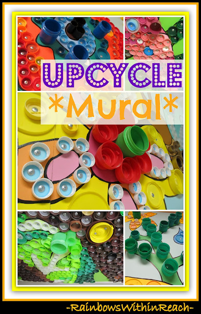 photo of: UpCycle Mural Details of Bottle Lids and Tops