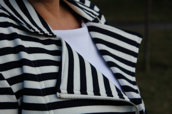 Essential Boat Neck White Top and Striped Jacket from Forever 21