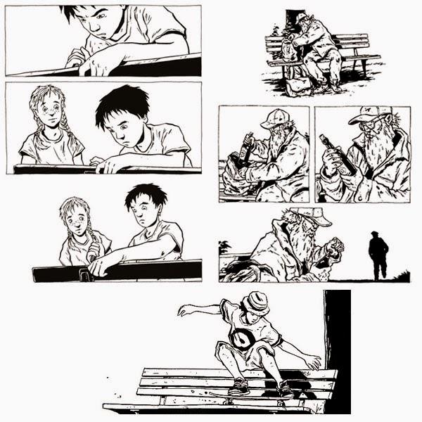 """Viñetas del cómic """"Un poco de madera y Acero"""" de Chabouté"""