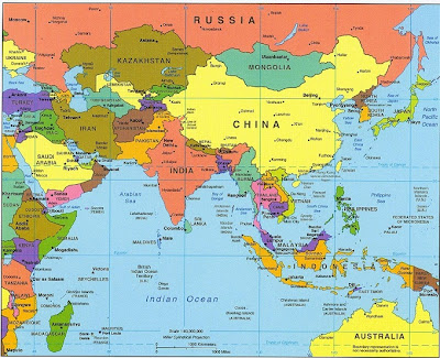 Map of Asia Contingent and Country