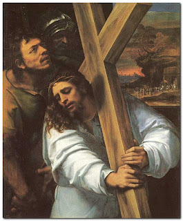 Jesus Christ carrying the wooden Cross drawing art picture