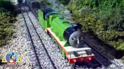 Two Thomas and friends Percy and Henry the tank engine passed each other on the railway main-line