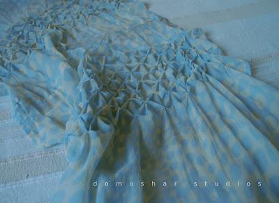 копринен шал с цвят на море