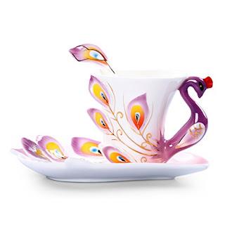 Porcelain colorful tea cup set
