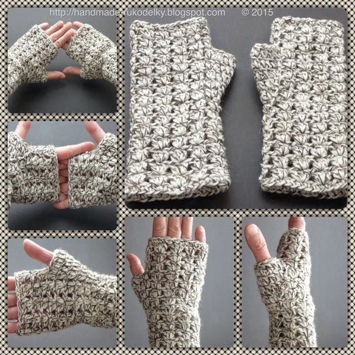 Hand Made Rukodelky Crocheted Simple Fingerless Gloves Sm