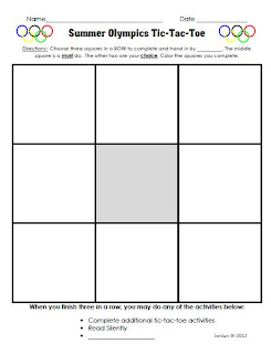Classroom freebies too free summer olympics choice for Tic tac toe template for teachers