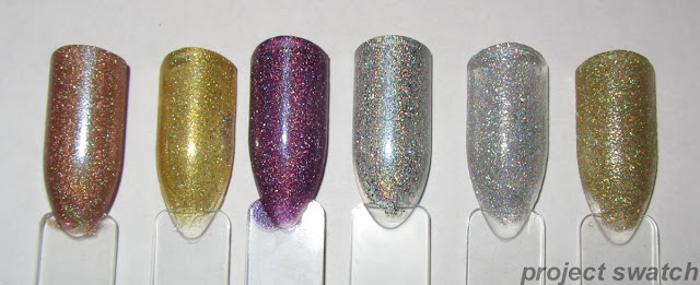 swatches - OPI DS Classic, Milani 3D, Milani Hi-Res, Milani HD, China Glaze Glistening Snow, China Glaze Angel Wings