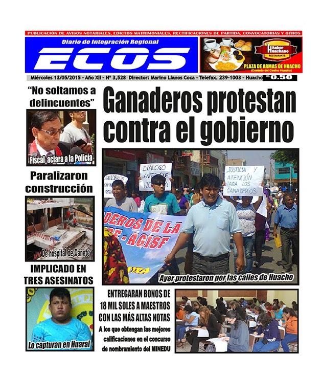 Esta es la edición del Diario ECOS miércoles 13 de mayo del 2015