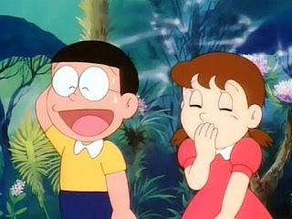 Nobita dan Shizuka lagi asyik tertawa bersama