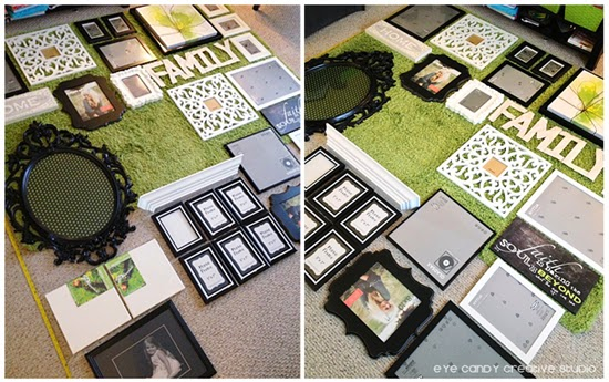 how o create a gallery wall, picture layout on floor, gallery wall tips