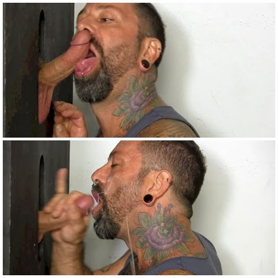 Barbudo chupa no glory hole e deixa gozar na barba