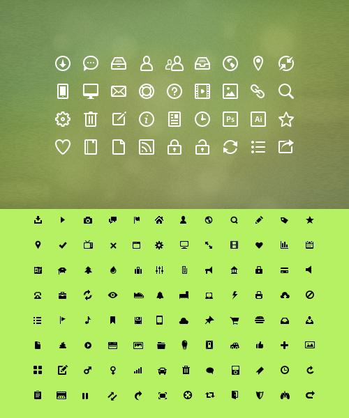 Black and White mini web icons set
