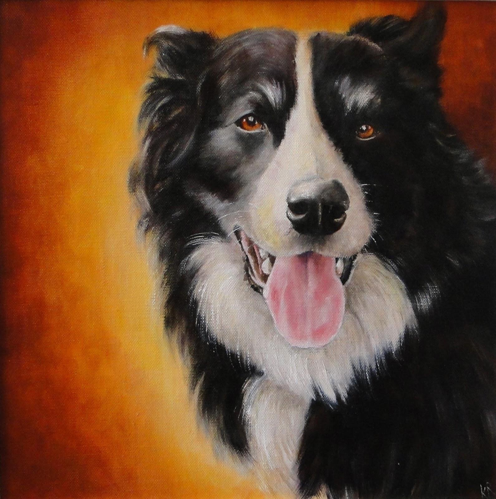 oil painting of a border collie, pet portrait, dog painting, a pet portrait by Karen