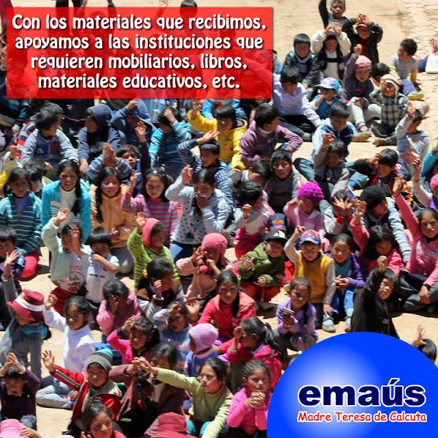 Con los materiales que recibimos apoyamos a instituciones como comedores, colegios, etc.